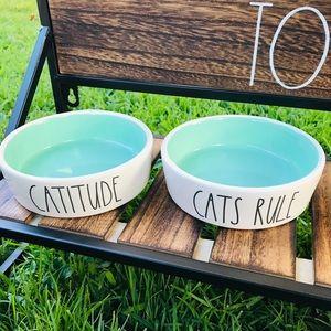 Rae Dunn 🆕 CAT BOWLS (aqua inside) set